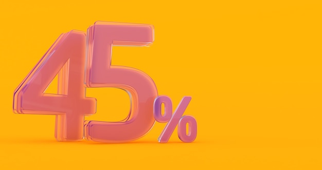 Специальное предложение: бирка со скидкой 45%, 3d-рендеринг 45%, стекло 3d 45%