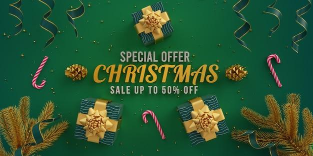 특별 제공 크리스마스 판매 평면 그림 카드 리본 선물 상자와 녹색 D 렌더링에 장식 프리미엄 사진