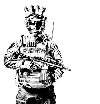 특수 작전 부대 군인, 대테러 분대 전투기, 마스크와 야간 투시 장치의 군사 용병, 짧은 배럴 서비스 소총 스튜디오 초상화 격리 된 흰색 배경으로 무장
