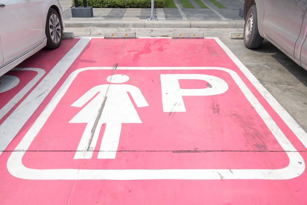 Special parking places for women in the public car park, thailand