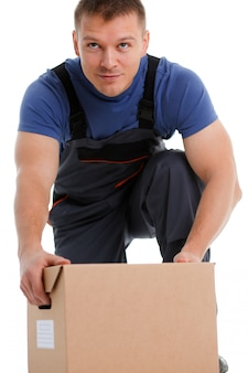 Specialist courier delivery service carries boxes