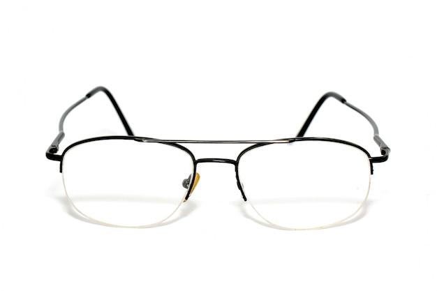 白い背景の上の眼鏡