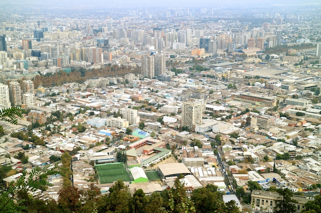 Spectacular aerial view of santiago seen from san cristobal hilltop, santiago, chile