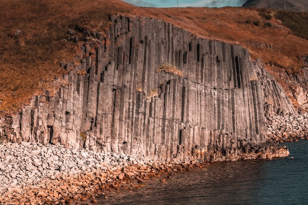 Spectacular shape in the stones on the beach of olafsfjordur. iceland