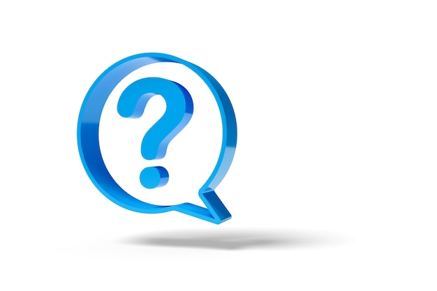 Speech balloon with a question mark isolated on white background.