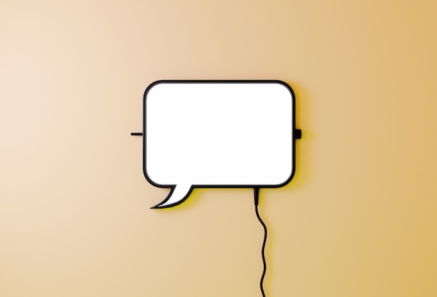Speech baloon bubble sign on light yellow background. communication concept.chats icon 3d rendering
