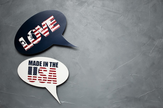 Speech bubble for american independence day on gray textured background