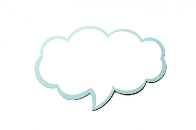 Speech bubble as a cloud with blue border isolated. copy space
