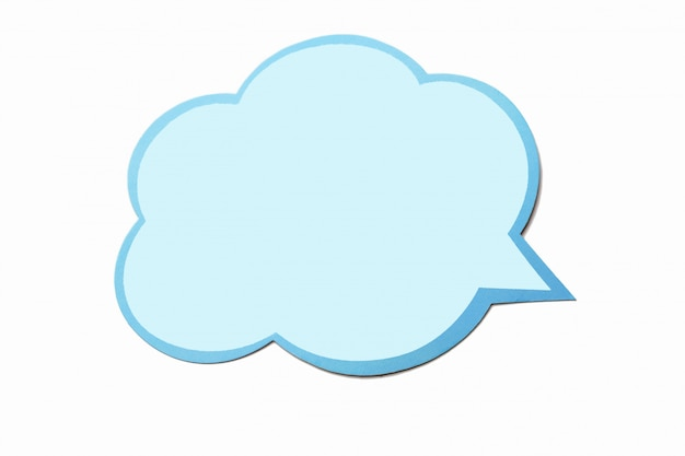 Speech bubble as a cloud with blue border isolated on white