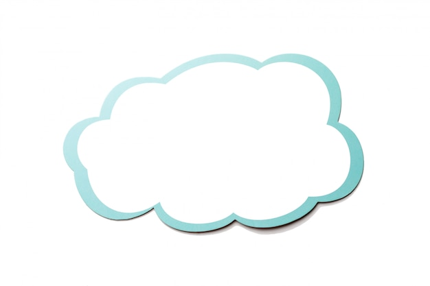 Speech bubble as a cloud with blue border isolated