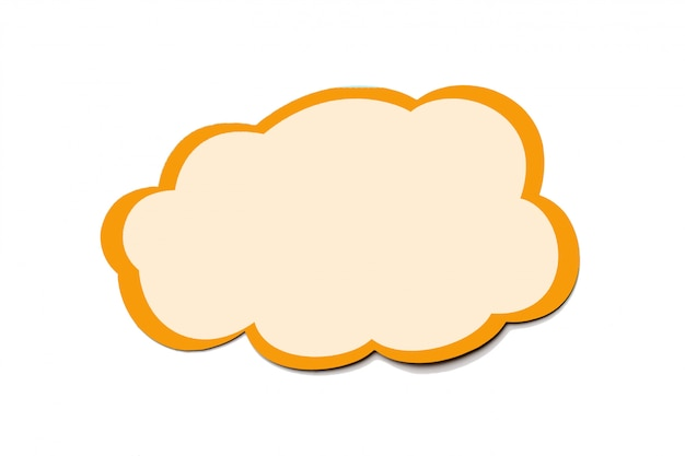 Speech bubble as a cloud with orange border isolated on white