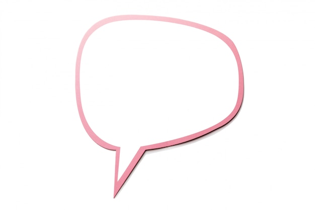 Speech bubble as a cloud with pink border isolated. copy space