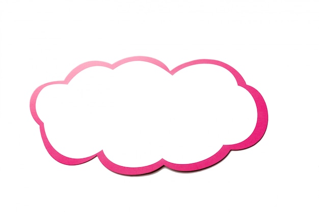 Speech bubble as a cloud with pink border isolated on white background. copy space