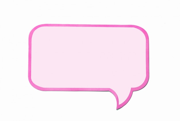 Speech bubble as a cloud with pink border isolated on white