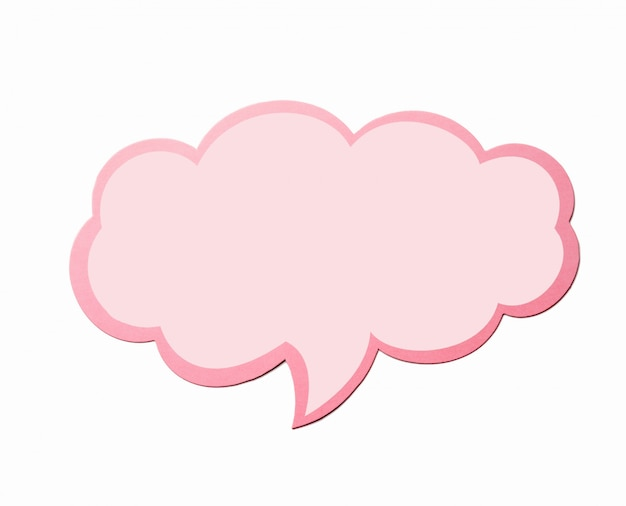 Speech bubble as a cloud with pink border isolated