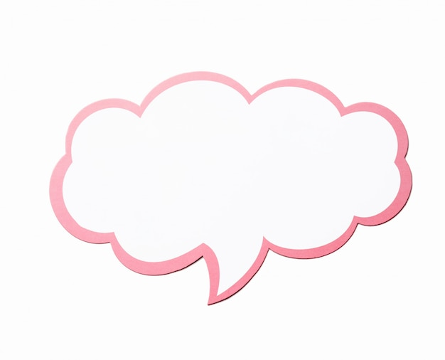 Speech bubble as a cloud with pink border