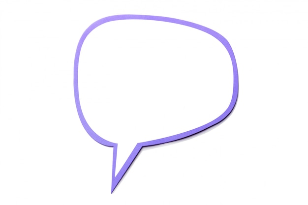 Speech bubble as a cloud with violet border isolated