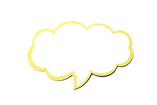 Speech bubble as a cloud with yellow border isolated on white