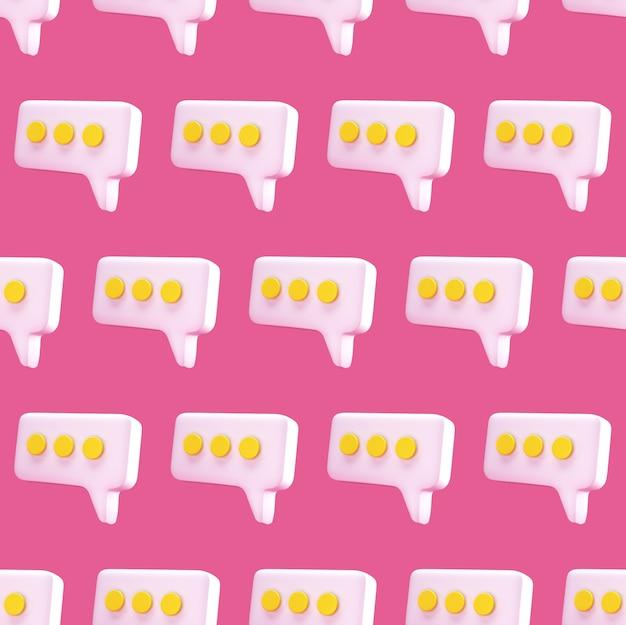 ピンクの背景に吹き出しチャットアイコンのシームレスなパターン。