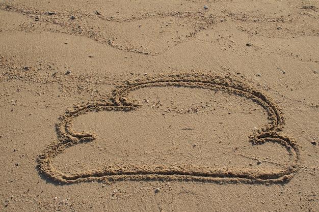 Speech bubble on sand beach