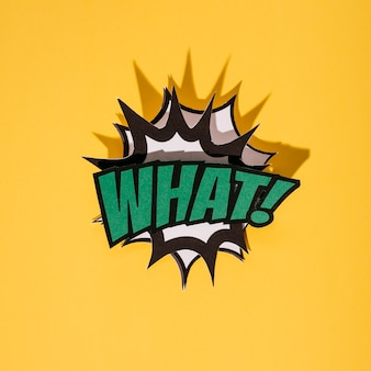 Speech bubble text in retro style on yellow background