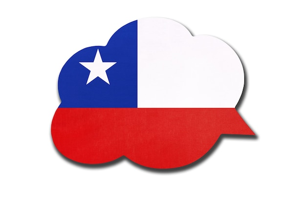 Speech bubble with chilean national flag isolated