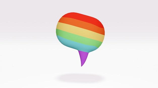 Lgbtq 의견의 배경 개념에 떠 있는 lgbt 색상으로 무지개 색상의 연설 거품