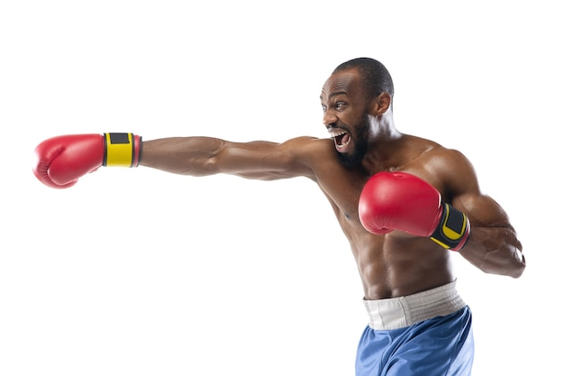 Speed. african-american boxer isolated on white studio wall.