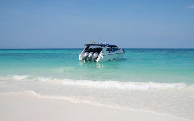 Speed boat on beach