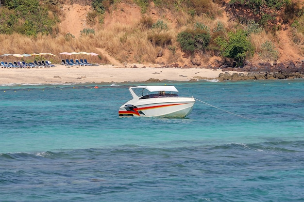 Speed boat stop on sea at koh lan in thailand
