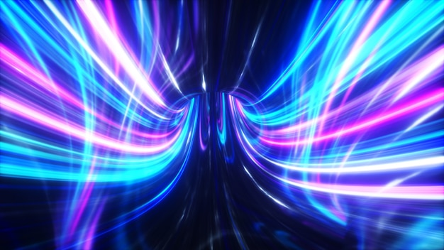 The speed of digital lights, neon beams moving through the tunnels of digital technology. space time concept.