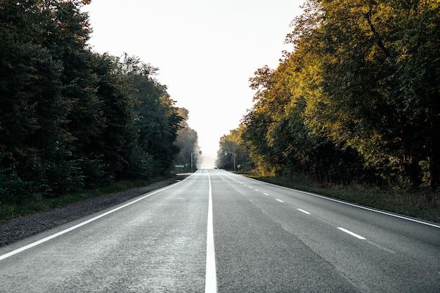 フィールドを高速道路で通過します。アスファルト舗装道路