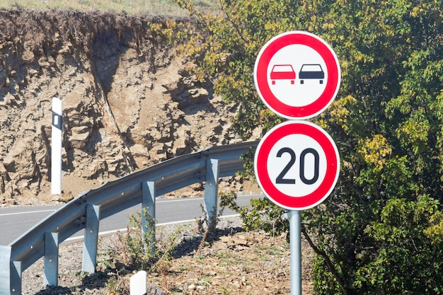 Speed limit sign on road