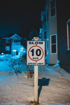 Speed limit sign in winter