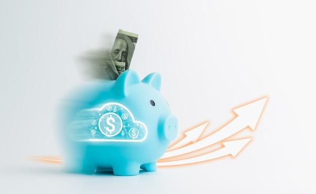 Скорость движения денег в копилку и график роста, изолированные на белом фоне, сбережения - это инвестиции в будущее. рассчитывайте доходы и расходы в повседневной жизни.