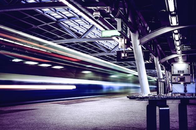 Speed train on railway