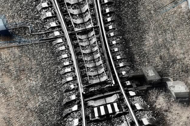 Speed and vertigo on railroad railway abstract