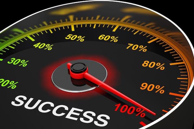 Speedometer as success level meter extreme closeup. 3d rendering