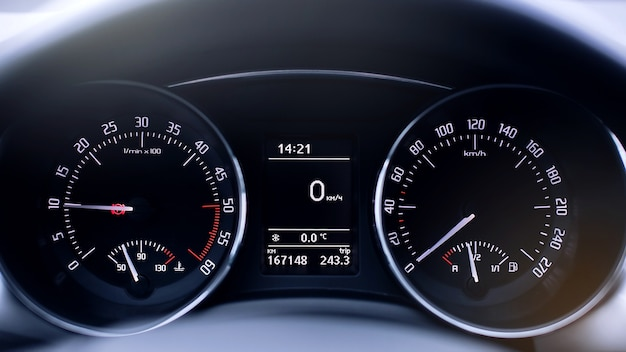 Speedometer in car, with lcd display of odometer