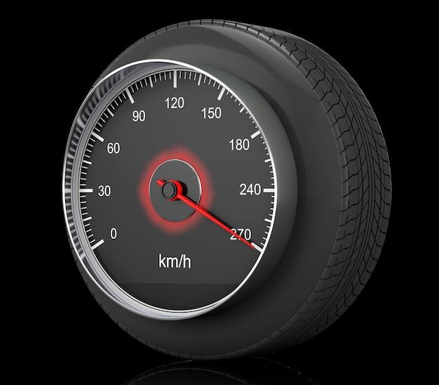 Спидометр в шине колеса автомобиля на черной предпосылке. 3d рендеринг