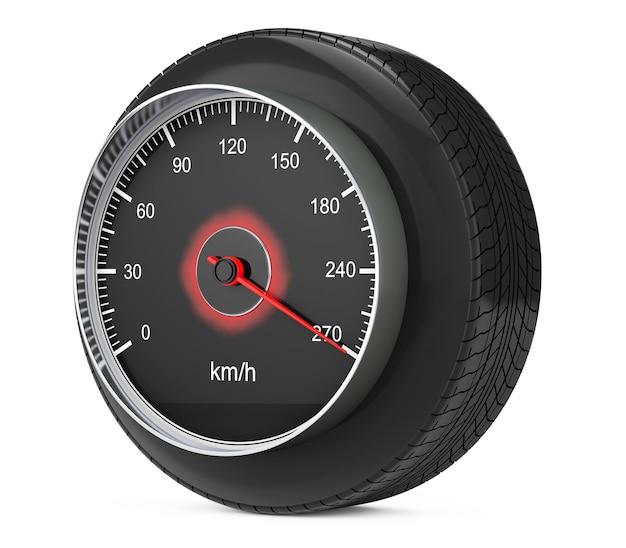 Спидометр в шине колеса автомобиля на белой предпосылке. 3d рендеринг
