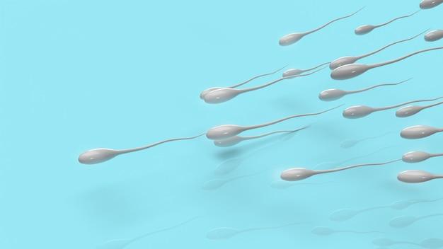 Сперма на синем фоне для 3d-рендеринга научного контента.