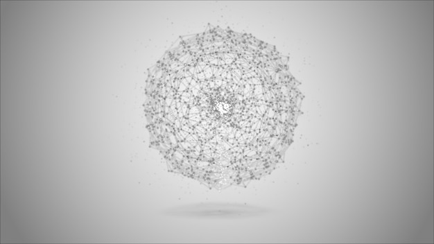 Sphere abstract gray digital data system nodes and connection paths.