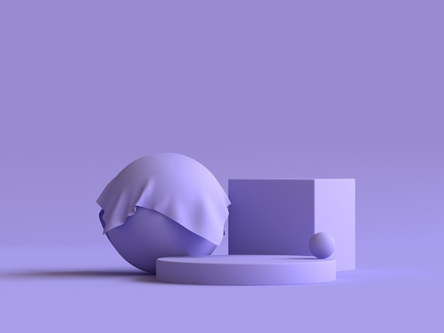 Sphere cube abstract geometric shape group set violet-purple minimal abstract 3d rendering