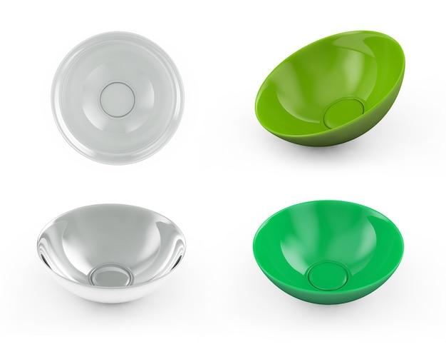 白い背景の上の球皿プレート側面図。分離された3dレンダリング Premium写真