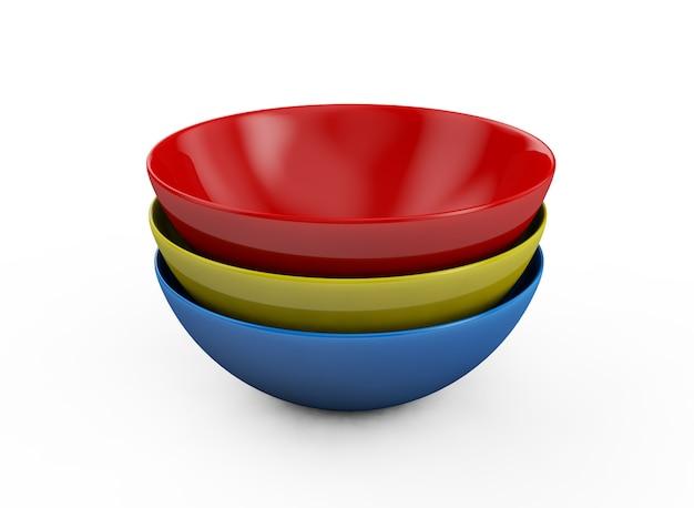 白い背景の上の球皿プレート側面図。分離された3dレンダリング