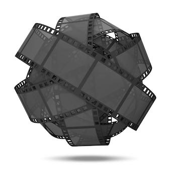 白い背景で隔離の古典的なフィルムストリップから球