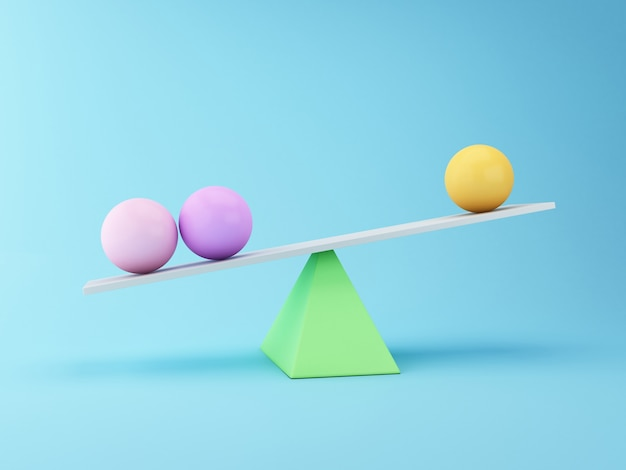 Spheres 3d balancing on a seesaw. business concept.
