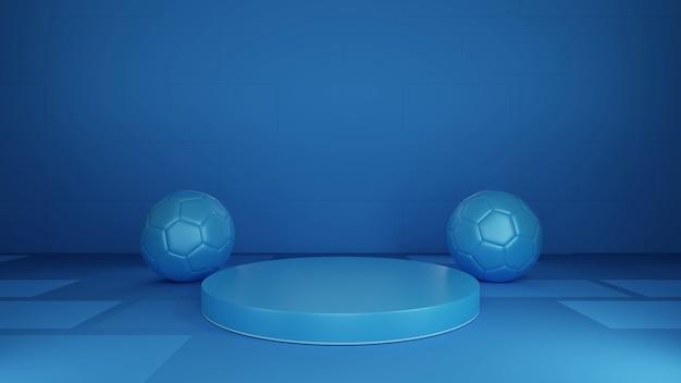 球形の展示スタンド、青い背景、抽象的な、ボールの装飾。 3dレンダリング