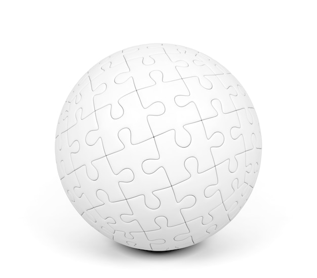 Spherical puzzle on white background, 3d rendering
